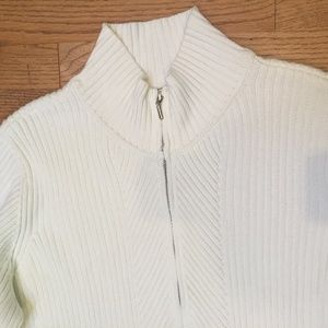 2X Ivory 100% cotton zip cardigan